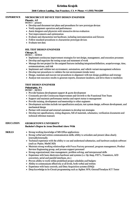 design engineer resume test design engineer resume sles velvet