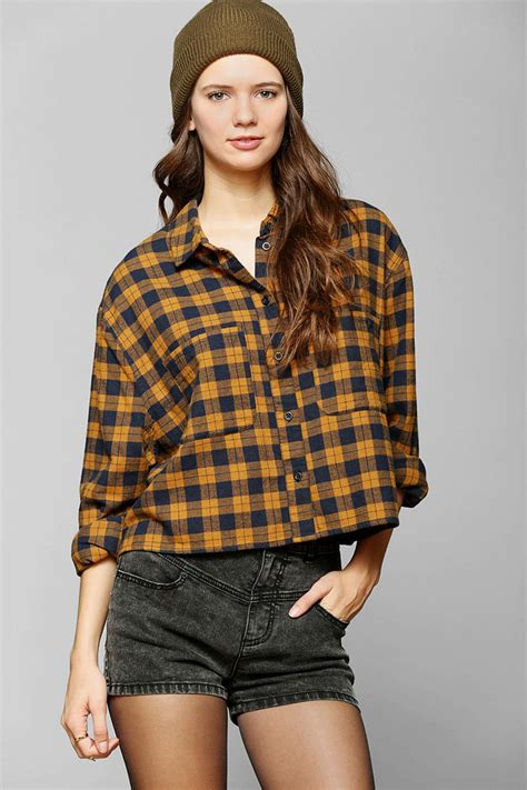 Crop Flanel outfitters bdg cropped flannel shirt in gold lyst