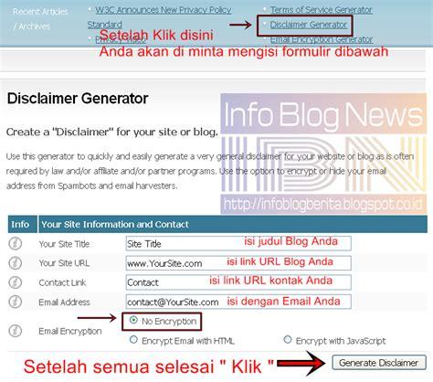 cara membuat blog atau website cara mudah membuat disclaimer di blog atau website info