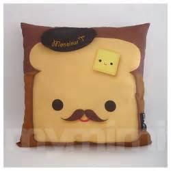 12 x 12 quot pillow brown pillow food pillow mustache toast