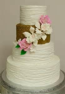 textured buttercream amp gold wedding cake cakecentral com