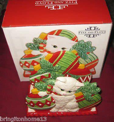 Macy S Christmas Gift Card - yuletide kitten cat christmas napkin holder cards fitz floyd 2008 macys nib
