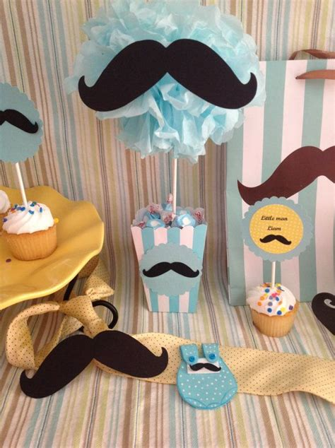 Little Man Mustache Centerpiece Treat Goody Bag Mustache Centerpieces