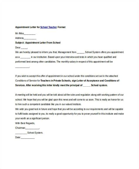 appointment letter for a school free appointment letters 35 free word pdf documents