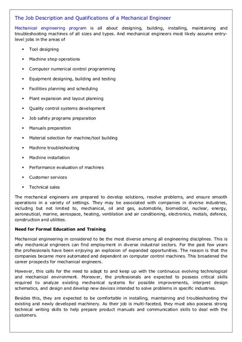 Section Engineer Description the description and qualifications of a mechanical