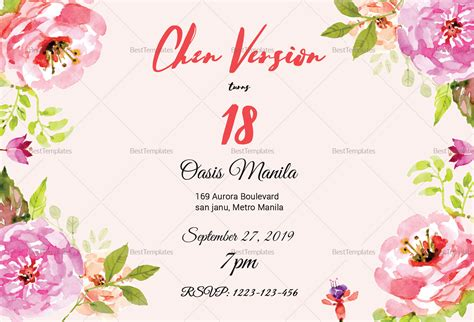 sle layout debut invitation floral debut invitation design template in word psd