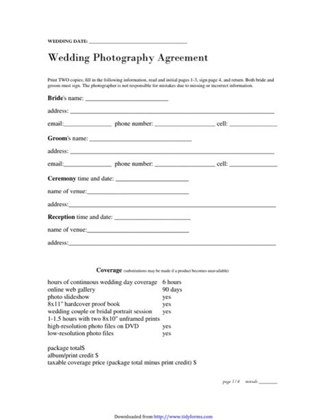 photography service agreement template photography contract template free templates in doc ppt