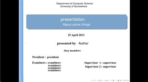 presentation beamer title page tex latex stack exchange