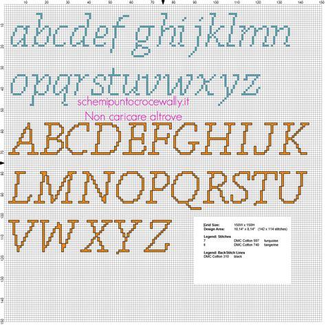 lettere punto croce in corsivo alfabeto punto croce lettere minuscole e maiuscole per