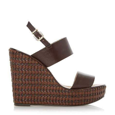 dune kyra leather woven wedge sandals in brown lyst
