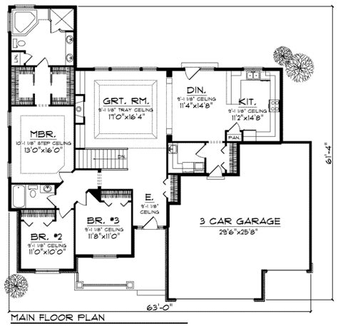 Ranch Style House Plan 3 Beds 2 Baths 1948 Sq Ft Plan Ranch House Floor Plans With 3 Car Garage