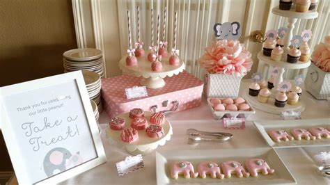 pink and gray elephant baby shower ideas photo 1