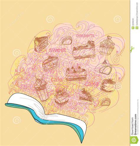 doodle recipe doodle with recipe book dessert ingredients stock photo