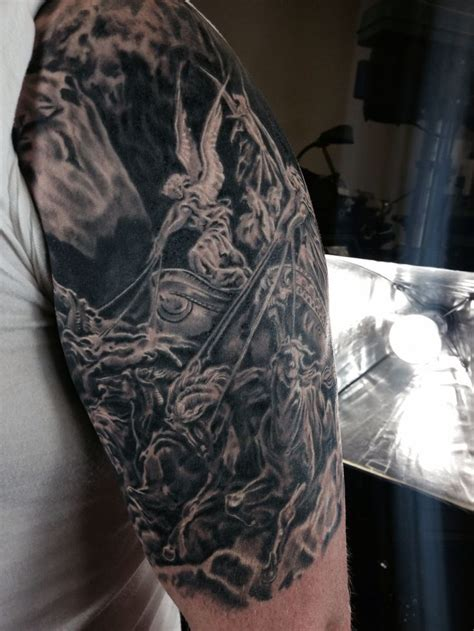 four arm tattoos gustave dore four horsemen sleeve black and gray