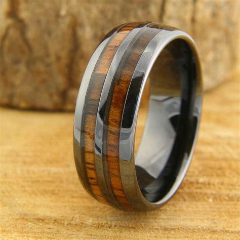 barrel ceramic koa wood ring wedding