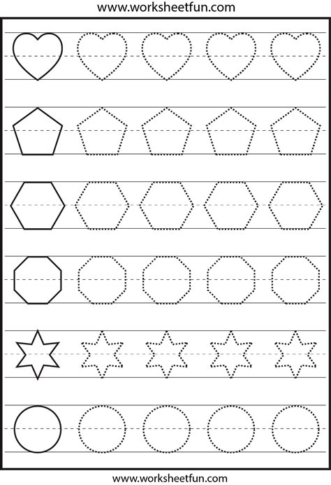printable shapes letters and numbers shape tracing 1 worksheet free printable worksheets