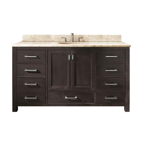 60 Inch Vanity Top Single Sink Avanity Modero 60 Inch Single Vanity With Galala Beige Marble Top And Single Sink In Espresso