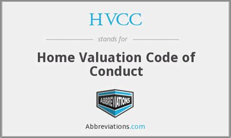 hvcc home valuation code of conduct