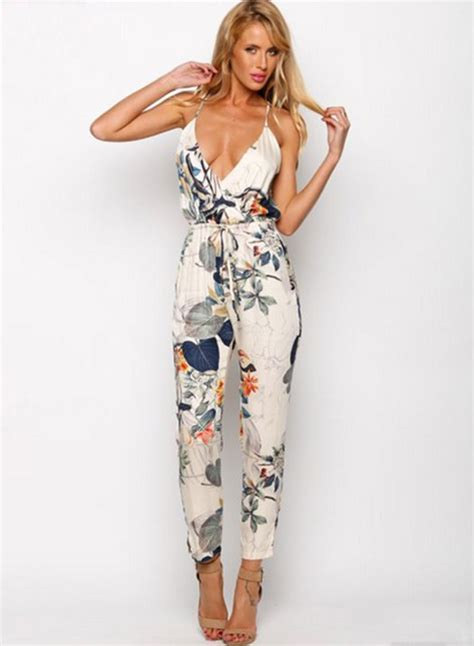 Jumpsuit V Nect v neck sleeveless floral jumpsuit novashe