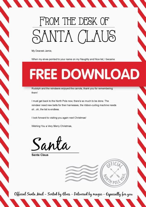 printable letter back from santa best 25 free letters from santa ideas on pinterest