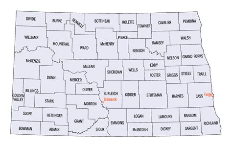 printable road map of north dakota north dakota county map