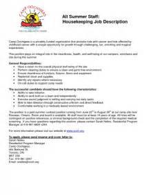 resume housekeeping description - Housekeeping Responsibilities