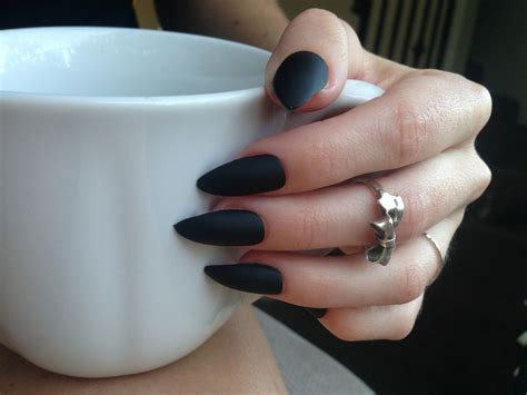 matte pointed nails matte black pointed acrylic nails images