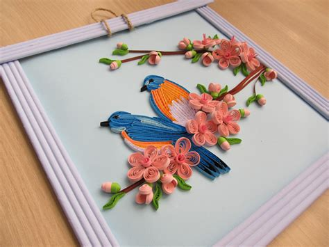 Handmade Paintings - wall decor quot quot home decor quot birds and cherry blossom