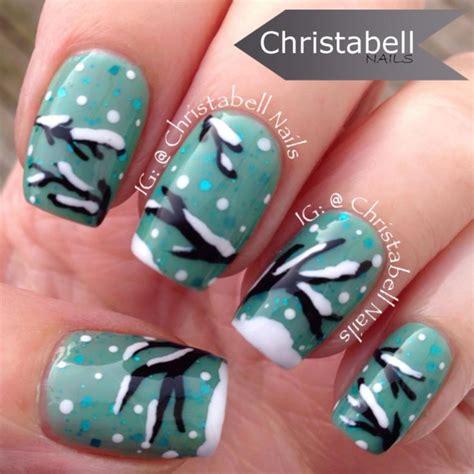 tutorial nail art pinterest christabellnails snowfall winter trees nail art tutorial