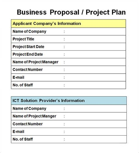 project proposal format exle sle business proposal template 14 documents in pdf