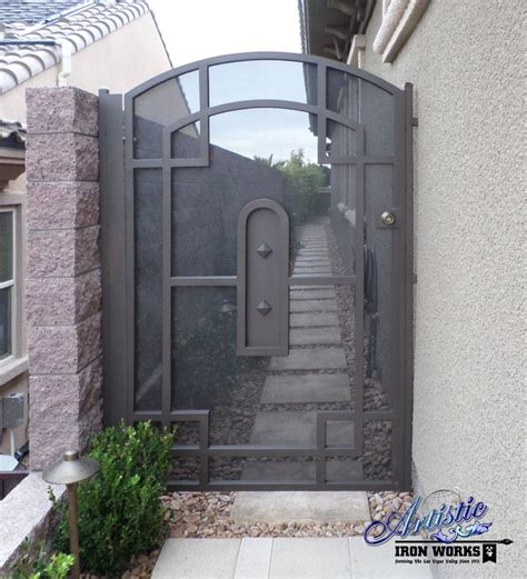 wrought iron side gate with metal screen wrought iron
