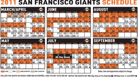 printable schedule for sf giants giants schedule sf