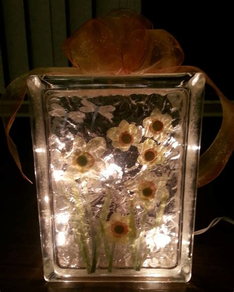 glass block lights flowers lighted glass block