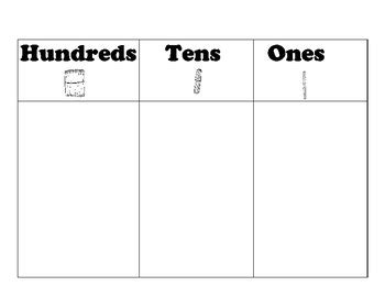 hundreds tens and ones chart printable place value charts mats hundreds tens ones tens