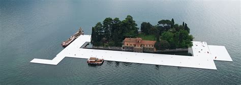 floating piers christo s floating piers near completion in lake iseo italy