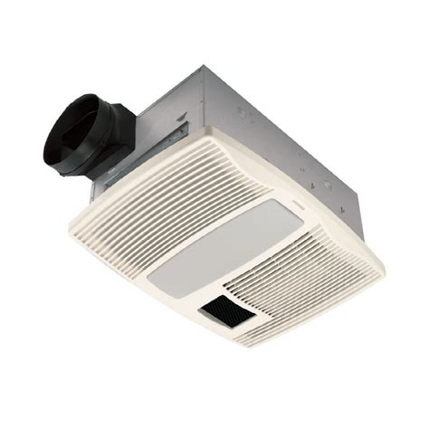 Shop Broan 0 9 Sone 110 Cfm White Bathroom Fan With Heater Light Fan Bathroom