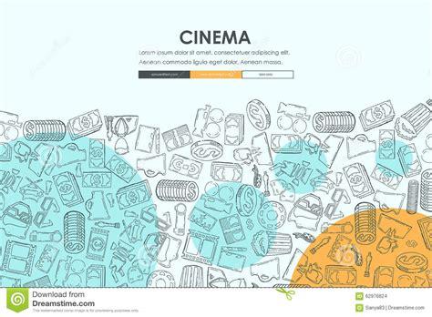 doodlebug website cinema doodle website template design stock vector image