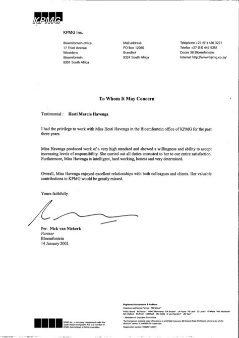 Reference Letter Kpmg Kpmg Reference Letter Nick Niekerk