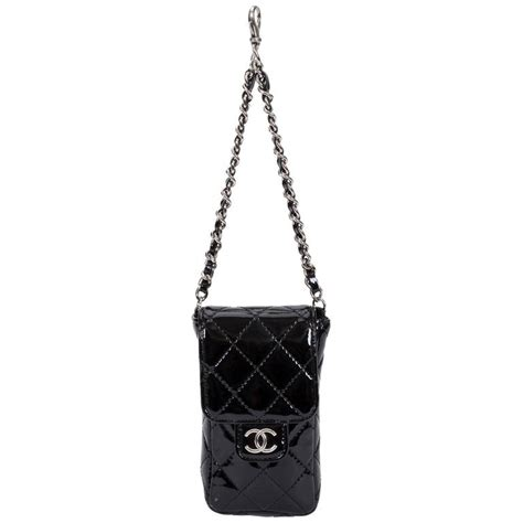 chanel black patent quilted charm purse on chain for sale