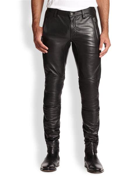 Kemeja Black Slim Fit lyst blk dnm slim fit leather biker in black for