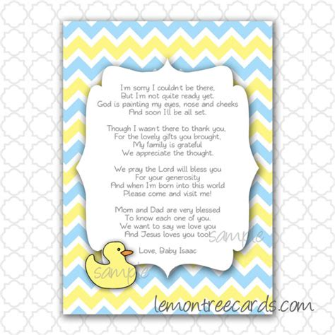 Thank You For Baby Shower Gift Poem by Baby Shower Money Tree Poem Duck Baby Shower Thank You