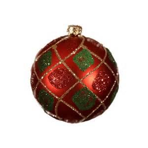 Gorgeous Christmas Trees - tartan glitter quilt baubles 8cm 6pk christmas decorations