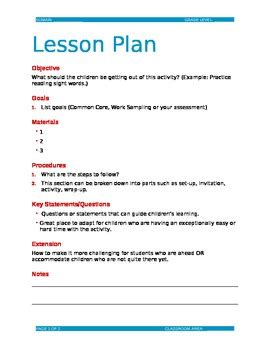 Editable Lesson Plan Template Doc By Dorothy Shackelford Tpt Lesson Plan Template Word Editable