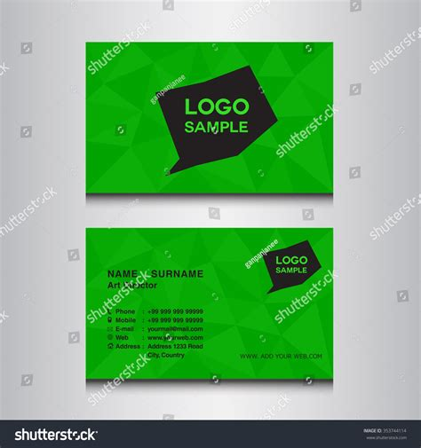 name card design template vector green name card design template vector stock vector