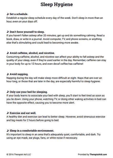 sleep hygiene sleep hygiene worksheet worksheets ratchasima printable