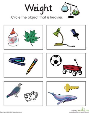 heavy and light lesson plan kindergarten heavy or light measuring weight worksheet education com