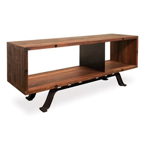 barrow and bench barrow industrial reclaimed wood iron media console