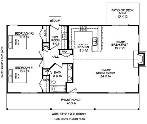 2 Bedrm 1200 Sq Ft Cottage House Plan 196 1010 House Floor Plans For 1200 Square