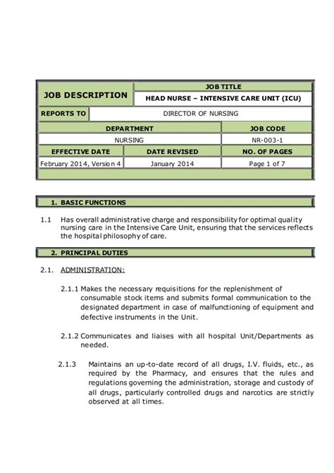 Icu Rn Description by Intensive Care Unit Icu Description