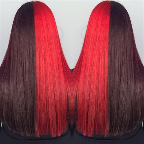two toned hair color two toned hair black cherry and hair colors ideas